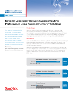 National Laboratory Delivers Supercomputing Performance using Fusion ioMemory Solutions